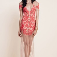 For Love & Lemons Luau Lace Maxi Dress in Red
