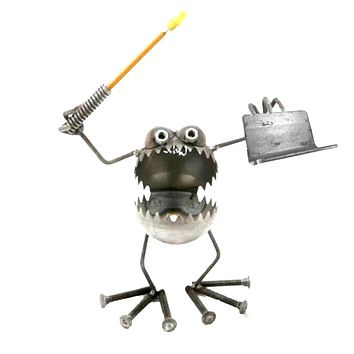 Sugarpost Gnome Be Gone Business Card & Pen Holder Welded Metal Art Made in USA