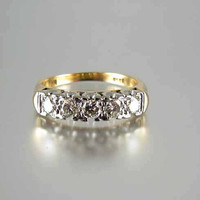 Signed Kinsman vintage Estate 14k gold 5 diamond .40ct anniversary wedding bridal band ring