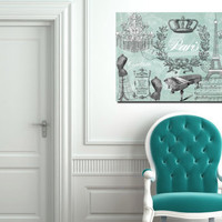 Large XLPrint on Stretched Canvas Blue Paris Chic Silhouette 36x24 Ready to Hang