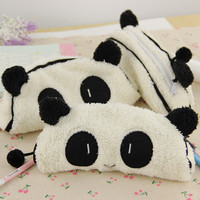 1 Pcs Fashion Cute 3D Plush Panda Pencil Case Portable Student Stationery Storage Pencil Bag Office Supplies