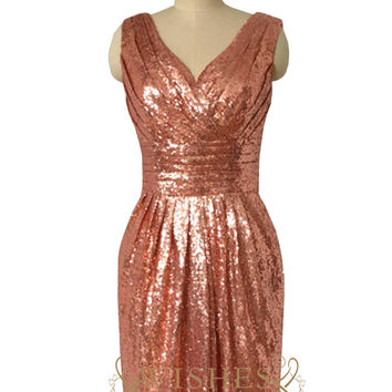 Affordable Short Rose Gold Sequins Bridesmaid Dress AM508