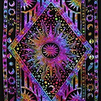 JaipurHandloom Twin Blue Tie Dye Purple Burning Sun Tapestry, Celestial Sun Moon Planet Bohemian Tapestry Tapestry Tapestry Wall Hanging Boho Tapestry Hippie Hippy Tapestry Beach Coverlet Curtain