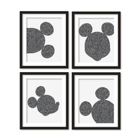 Kids artworks- room decor- mickey mouse silhouette- mouse gray glitter - four arts