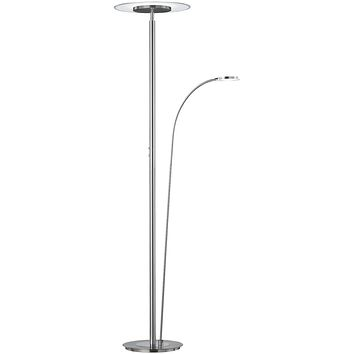 """71""""H Tampa LED Torchiere with Arm Nickel-Matte"""