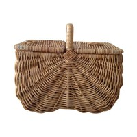 Pre-owned Handmade Wicker Picnic Basket