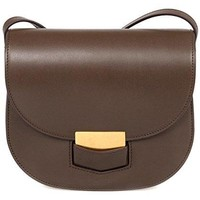 Celine Women's Trotteur Calfskin Leather Cross Body Handbag, Brown, Small