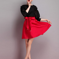 Red Bow Tie Flare Skirt