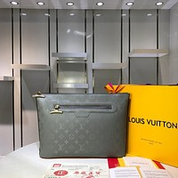 LV Louis Vuitton MEN'S MONOGRAM TITANIUM CANVAS POCHETTE COSMOS HANDBAG
