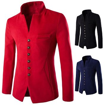 2016 3 Color New Winter Fashion Formal Solid Mandarin Collar Wool Men's Coats Single breasted Slim fit Casual Thick Mens Blazers