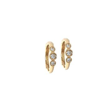 3 Diamond Hoop Earrings