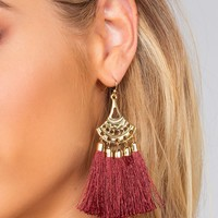 Quinn Earrings - Burgundy