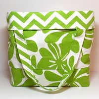 Extra Large Bag - Reversible Beach Bag - Green White - Floral Chevron - Summer Beach Bag - Big Tote Bag - Made To Order