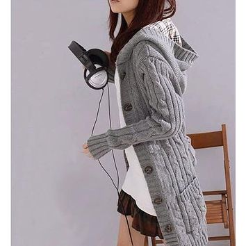 Hooded Cable Knit Cardigan