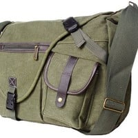 Military Inspired Canvas Crossbody Messenger Bag Laptop Case Backpack Olive Drab