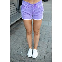 The Polly Denim Shorts (Purple) FINAL SALE