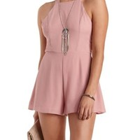 Mauve Caged Back Chiffon Halter Romper by Charlotte Russe