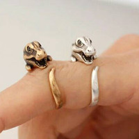 Adjustable Dinosaur Ring - Statement Ring - Stackable Ring - Unique Ring - Animal Ring - Silver Ring - PREORDER