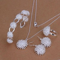 Silver plated  jewelry set, fashion jewelry set Fireworks Ring Drop Earrings Bangle Necklace Jewelry Set S329