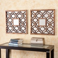 Parquetry Decorative Metal Mirror Set - 20.25W x 20.25H in. each - Set of 2 | www.hayneedle.com