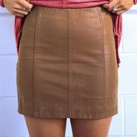 Free People Modern Femme Vegan Suede Mini Skirt - Beige