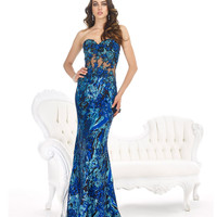 Strapless Turquoise & Blue Sequin Dress