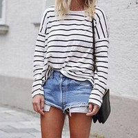 Stripe Basic Joker Round Neck Long Sleeve T-Shirt