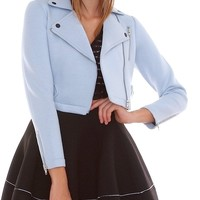 Creamy Powder Neoprene Moto Jacket - Blue