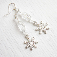Snowflake Earrings, Christmas Earrings, Cool as Ice, Sparkling Clear Crystal, Sterling Silver Ear Wire, Wedding Earrings, Bridesmaids Gifts