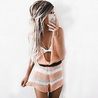Best seller soft knitted summer beach club party playsuit deep v sexy rompers womens jumpsuit girls elegant overalls(withou Belt