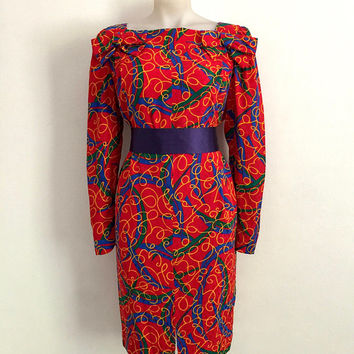 GUY LAROCHE!!! Vintage 1980s 'Guy Laroche' abstract print, red silk dress with square neck and bow trims