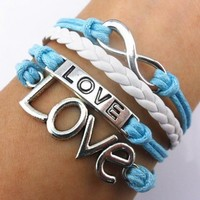 ArRord® Handmade Infinity Bracelet Love Sky Blue Rope White Leather Weave Vintage Silver