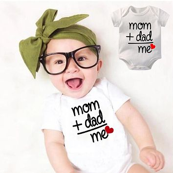 Infant Cotton Bodysuit Mom+Dad=Me Love Graphic Printed Baby Fashion Short Sleeve Onesuits Boys Girls