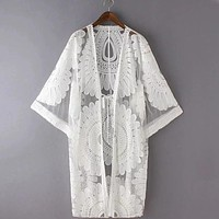 Floral Embroidery Bikini Cover Up Robe