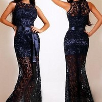 new 2015 women Maxi dress Navy Lace Satin Patchwork Party Maxi Dress = 5709774465
