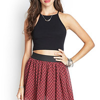 FOREVER 21 Floral Print Skater Skirt Burgundy/Black Medium