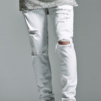 Bullhead Denim Co. White Ripped Stacked Skinny Jeans - Mens Jeans - White