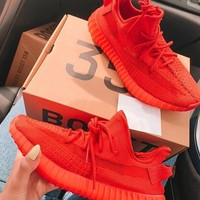 Red Adidas Yeezy Boost 350 V2 Fashion Shoes Sneakers