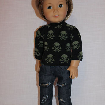 18 inch doll clothes, black sweater with skulls, dark washed ripped skinny jeans, american girl ,maplelea