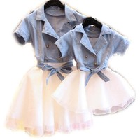 Mother Daughter Dresses Summer Short Sleeved Family Look Matching Clothes Cotton Mom And Daughter Dress Family Clothing 2016