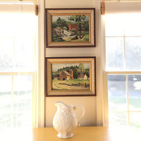 Set of Two Vintage Paint By Number Framed Artwork,  Landscape Painting, Original Acrylic Framed Art,  Pair of Farm Prints