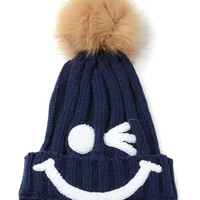 Navy Nifty Smiley Knit Pom Pom Hat
