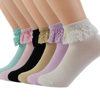 6 Pairs Comfortable No-Show Cotton Ankle Women Socks Solid Color WWZ11