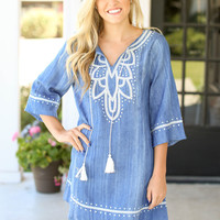 Got a Feeling Chambray Embroidered Dress