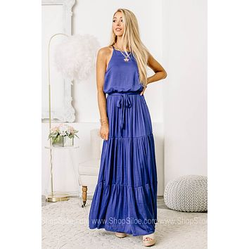 Dancing With Royalty Woven Satin Maxi Dress