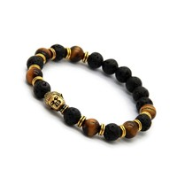 New Lava Stone beads Buddha Men Bracelets, Gold Buddha, Bronze and Silver Charm Black Yoga bracelet