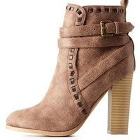 Taupe Qupid Contrast-Stitched & Belted Booties