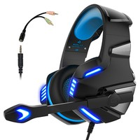 Micolindun Gaming Headset for PS4 Xbox One, Over Ear Gaming Headphones with Mic, Stereo Bass Surround, Noise Reduction, LED Lights and Volume Control for Laptop, PC, Mac, iPad, Smartphones (Blue)