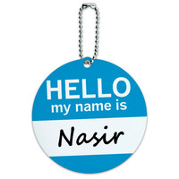 Nasir Hello My Name Is Round ID Card Luggage Tag