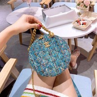 490 Fashion Gabrielle Weave Chain Mini Canteen Bag